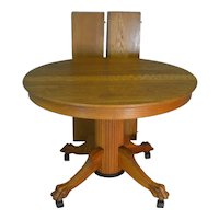 Oak Reeded Base Claw Foot Dining Table 42 Inch 2 Leaves