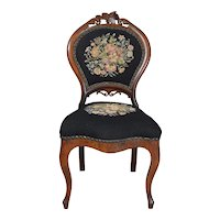 Civil War Era Needlepoint Boudoir Chair