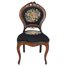 Civil War Era Needlepoint Boudoir Chair