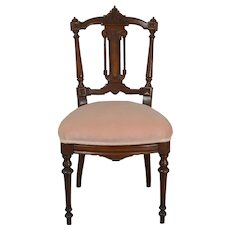 Victorian Walnut with Burl Carved Dainty Ladies Desk Chair