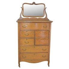 Victorian Oak Gentleman's Hat Box Dresser with Bevel Mirror