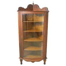 Victorian Oak Curved Glass Corner China Cabinet