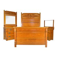 17693 Victorian Carved Oak Bedroom Set – Raised Panel