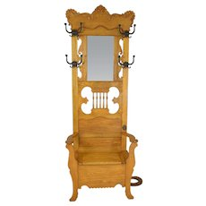 Victorian Carved Bevel Mirror Hall Tree with Lift Seat
