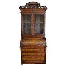 Victorian Burl Walnut Carved Cylinder Secretary