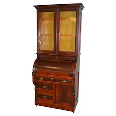 Victorian Cylinder Bookcase Secretary Desk