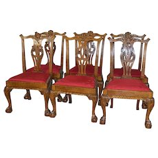 Set of 6 Oak Chippendale Dining Chairs – Rare
