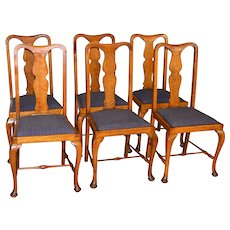 Set of Six Oak Queen Anne Dining Chairs – Unusual