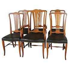 Set of 6 Oak Dining Chairs with Leather Seats