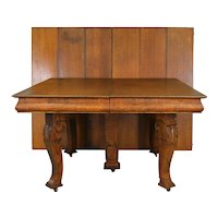 Square Oak Table w/6 Leaves – Opens 10 Feet!