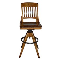 Rare Oak Refinished Postmaster / Telephone Operator Office Chair