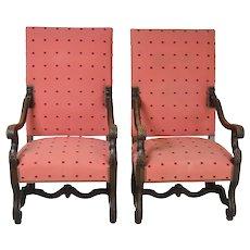 Pair of Walnut Throne Chairs