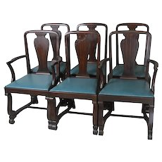 Set of 6 Mahogany Empire Dining Chairs – Twin Arms
