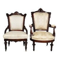 Victorian Jenny Lind Gentleman's Chair & Victorian Ladies Chair