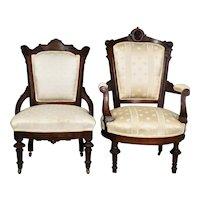 Victorian Jenny Lind Gentleman's Chair & Victorian Ladies Chair
