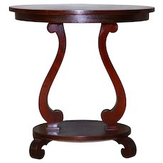 Oval Mahogany Empire Parlor Stand / Nightstand