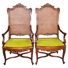 Pair of Outstanding Carved Walnut French Throne Chairs