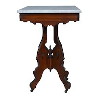 Victorian Walnut Marble Top Parlor Stand