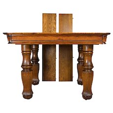 Victorian Tiger Sawn Oak Square Dining Table