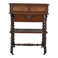 Antique Walnut Victorian Sewing Stand Table