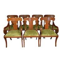 Set of 7 Mahogany Empire Style Dining Chairs