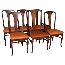 Oak Stylish Set of 6 Dining Chairs