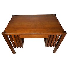 Mission Oak Library Writing Desk with Bookshelves