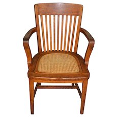 Oak Lawyers Bankers Cane Seat Arm Chair