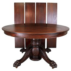 Victorian Carved Mahogany Banquet Table – Opens over 10 Feet