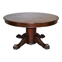 Round Large Mahogany Banquet Table Ball & Claw Base – Opens 10 Feet