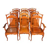 Set of 9 Oak Formal Dining Chairs – Stylish