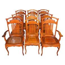 Set of 9 Oak Formal Dining Chairs – Stylish