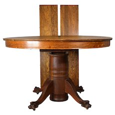 Round Tiger Sawn Oak Claw Foot Dining Table – 2 Leaves
