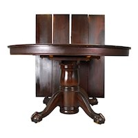 Round Mahogany Ball & Claw Dining Banquet Table