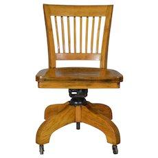Oak Lawyers Bankers Swivel Tilt Office Chair