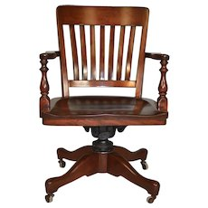 Mahogany Swivel Tilt Lawyers Office Chair