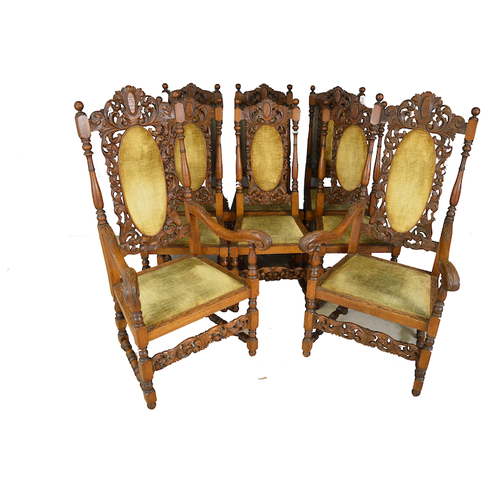 Set Of 8 Carved Oak Outstanding Dining Room Chairs Victorian