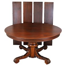 Round Victorian Mahogany Carved Banquet Dining Table