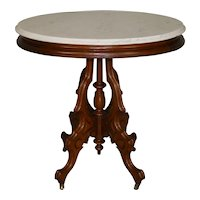 Victorian Oval Marble Top Carved Parlor Stand