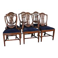 Set of 6 Mahogany Shield Back Dining Chairs