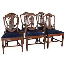 Set of 6 Mahogany Shield Back Dining Chairs