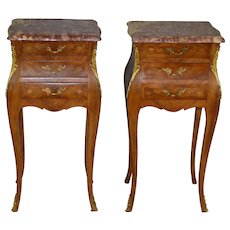 Pair of French Marble Top with Brass ormolu Trim Nightstands - Inlay