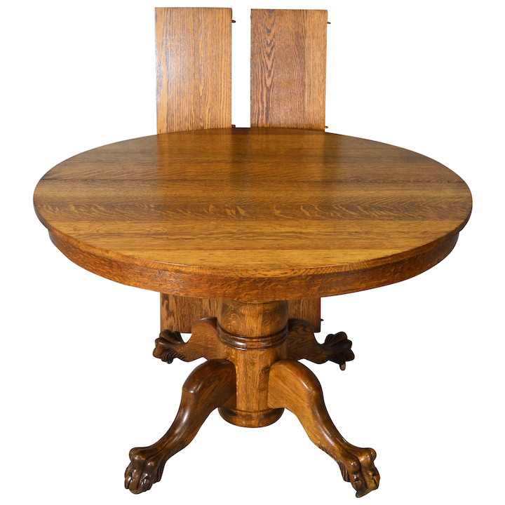 Victorian Oak Claw Foot Dining Table Refinished