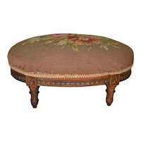 Oval French Needlepoint Footstool – FREE SHIPPING