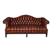 Leather Tufted Chippendale Camel Back Sofa