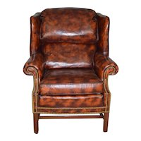 Leather Chippendale Wingback Chair by North Hickory