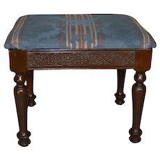 Carved Walnut Footstool – FREE SHIPPING