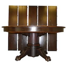 Mahogany Round Banquet Table Ball and Claw – Opens 12 Feet