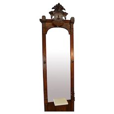 Victorian Incise Carved Marble Top Pier Mirror