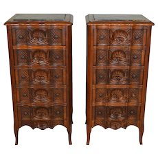 Pair of Walnut Carved Five Drawer Marble Top Bedside Stands – Outstanding